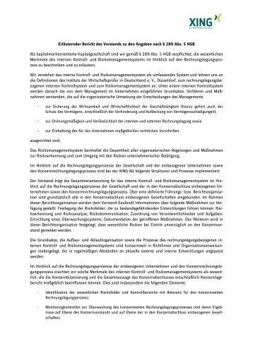 Erläuternder Bericht des Vorstands zu den Angaben ... - XING AG