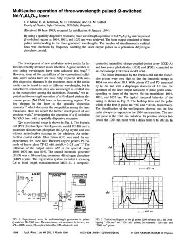 Multi-pulse operation of three-wavelength pulsed Q-switched Nd ...