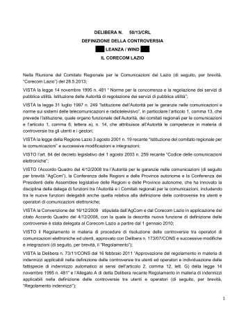 1 DELIBERA N. 50/13/CRL DEFINIZIONE DELLA ... - Corecom Lazio