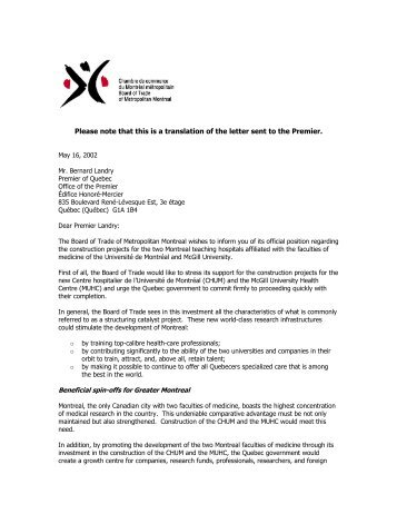 Please note that this is a translation of the letter sent to the Premier.
