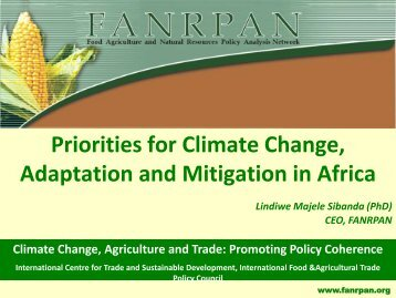 Priorities for Climate Change, Adaptation and Mitigation in Africa