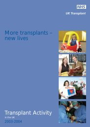 UK Activity Report 2003-2004 - Organ Donation