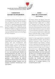 Kundmachung - Ausgaben für Wahlwerbung - Südtiroler Landtag