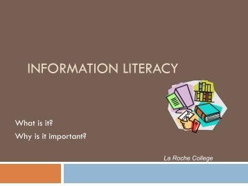 Information Literacy - Intranet - La Roche College