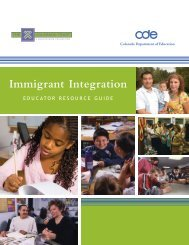 Immigrant Integration - Colorado Department of Education