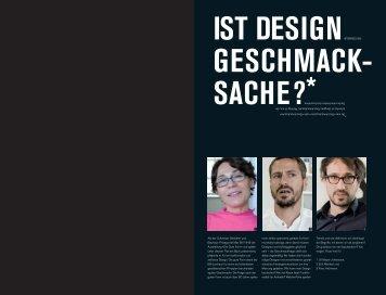 IST DeSIgn geSCHMACK SACHe? - Sabine Weier