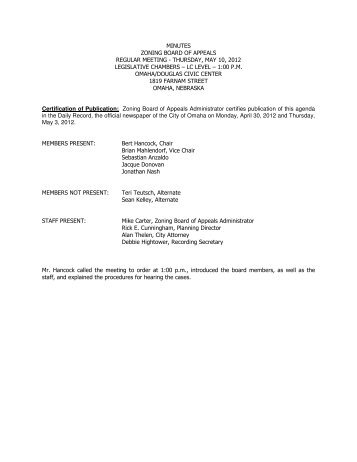 minutes zoning board of appeals regular meeting - thursday, may 10 ...