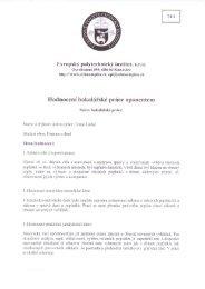 Hodnocení bakalářské práce oponentem - Evropský polytechnický ...