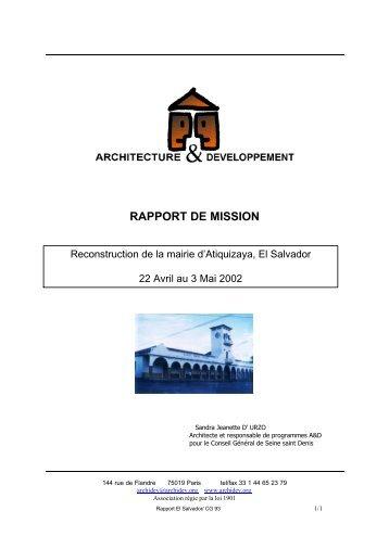 rapport mission Sandra1 - Architecture et Développement