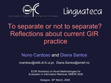 To separate or not to separate? Reflections about ... - Linguateca