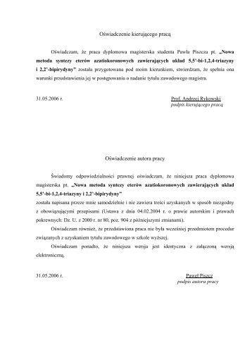 Pawel Piszcz M.Sc. - Zakład Chemii Analitycznej