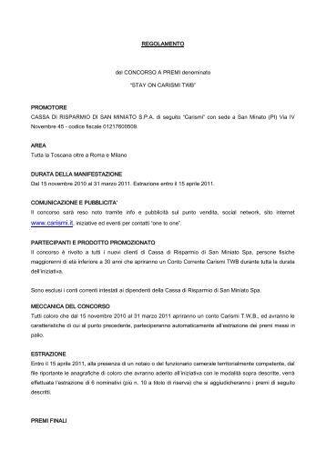 Leggi qui il regolamento - Cassa di Risparmio di San Miniato