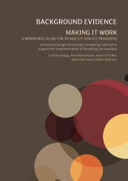 Making it work: Background evidence - Australian Policy Online