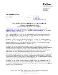 For Immediate Release Katten Muchin Rosenman Adds Bernadette ...