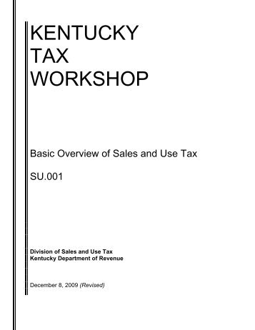 kentucky tax workshop - Kentucky: Revenue Employee Website