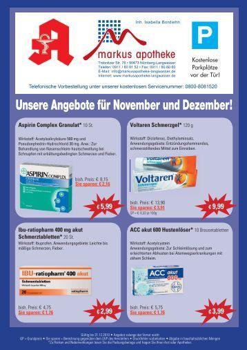 Unsere Angebote für November und Dezember! - Markus-Apotheke ...