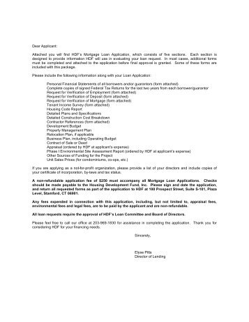 Dear Applicant - HDF: Housing Development Fund, Inc.