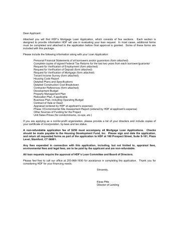 Dear Applicant - HDF: Housing Development Fund, Inc.