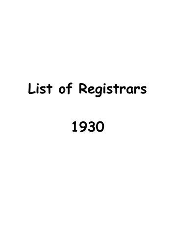 1930 List of County Registrars