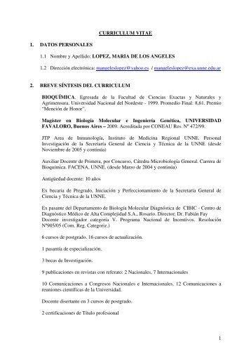 lopez, maria de los angeles - FaCENA - Universidad Nacional del ...