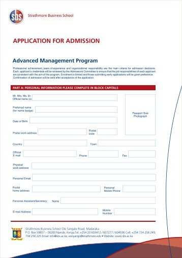 Advanced Management Program Application Form - Strathmore ...