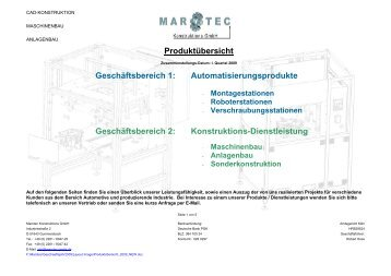 Produktübersicht Geschäftsbereich 1 ... - Marotec Konstruktions GmbH