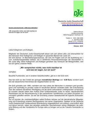 """Deutsche Justiz-Gewerkschaft """"Wir versprechen ... - DJG Brandenburg"""