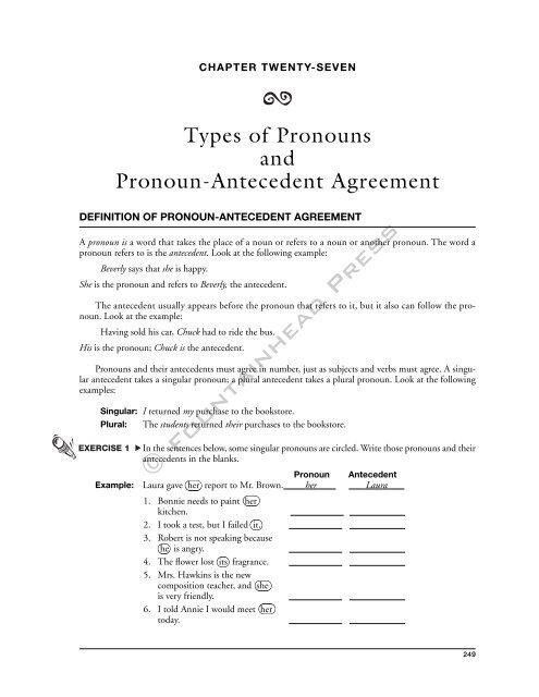 types of pronouns and pronoun antecedent agreement