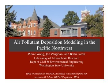 Air Pollutant Deposition Modeling in the Pacific Northwest