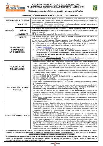Normativa Inscripción a cursos 2012 Abril - Mayo - Junio PDF
