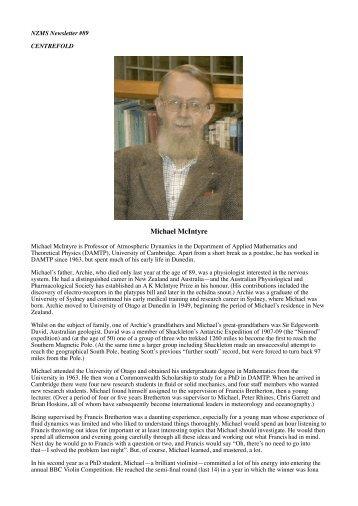Centrefold - Michael McIntyre - New Zealand Mathematical Society