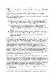Evolutionstheorie im Vergleich zur Struktur der biblischen ...