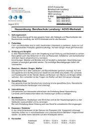 Hausordnung: Berufsschule Lenzburg / AGVS-Werkstatt
