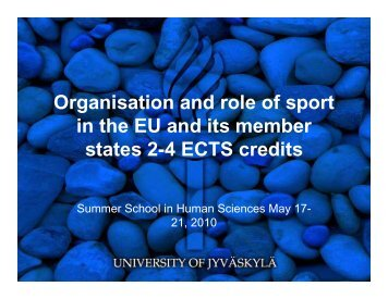 Organisation and role of sport in the EU and its member ... - Koppa