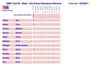 EMIC Club 50 - West - Life Group Attendance Records - DA Sharpe