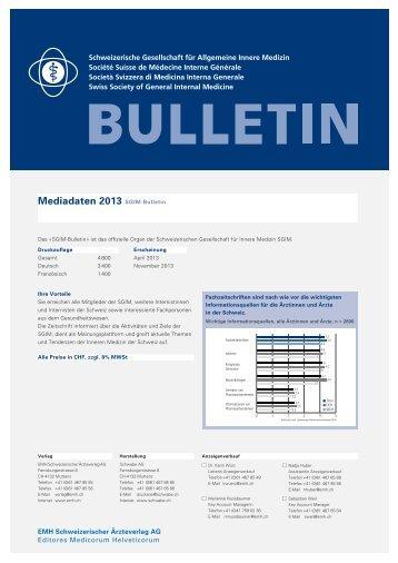 Mediadaten 2013 SGIM-Bulletin - EMH