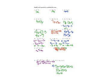 100+ [ Worksheets Combining Like Terms ]   Math U003d Love Cutting ...