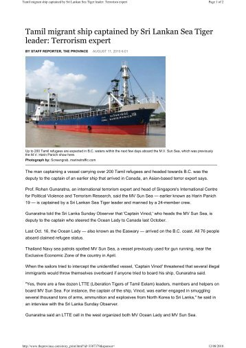 Tamil migrant ship captained by Sri Lankan Sea Tiger leader ...