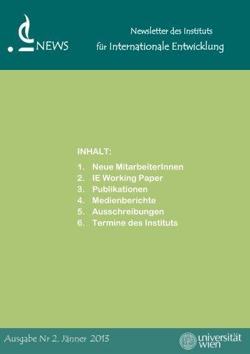 Newsletter Nr. 2 - Institut für Internationale Entwicklung - Universität ...