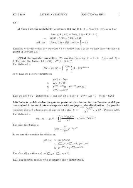 STAT 8640 BAYESIAN STATISTICS SOLUTION for HW3 1 2 17 (a