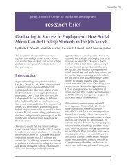 Graduating to Success in Employment - John J. Heldrich Center for ...