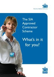 The SIA Approved Contractor Scheme - Security Industry Authority