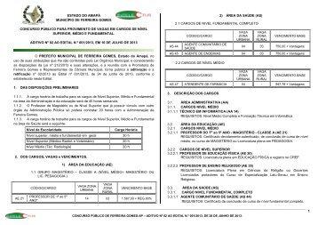 CONCURSO PÚBLICO DE FERREIRA GOMES ... - PCI - Concursos