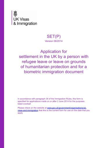 Form SET (Protection Route) - UK Border Agency - the Home Office