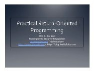 Return Oriented Programming - And You Will Know Us by the Trail ...
