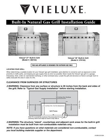 Built-In Natural Gas Grill Installation Guide - Help - Weber