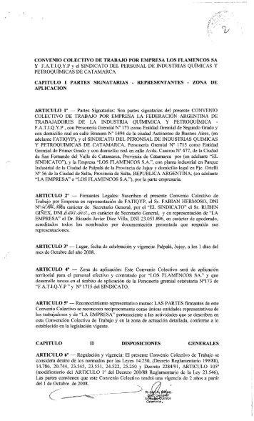 CONVENIO COLECTIVO DE TRABAJO POR EMPRESA ... - Laboralis