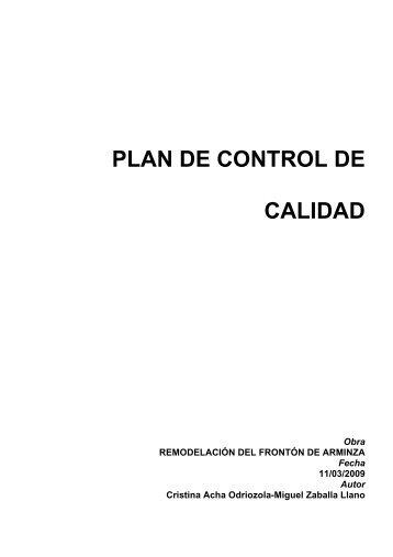 PLAN DE CONTROL DE CALIDAD