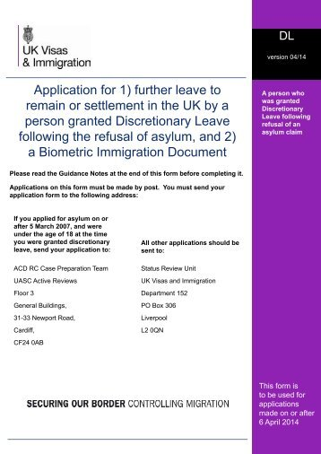 Form DL - UK Border Agency - the Home Office