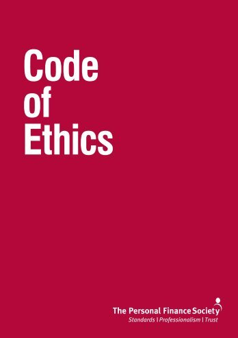 CII_4159 PFS Code of Ethics V2a.indd - The Personal Finance Society